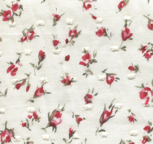 Cream with red and pink roses floral cut spot 100% cotton fabric 147 cm wide