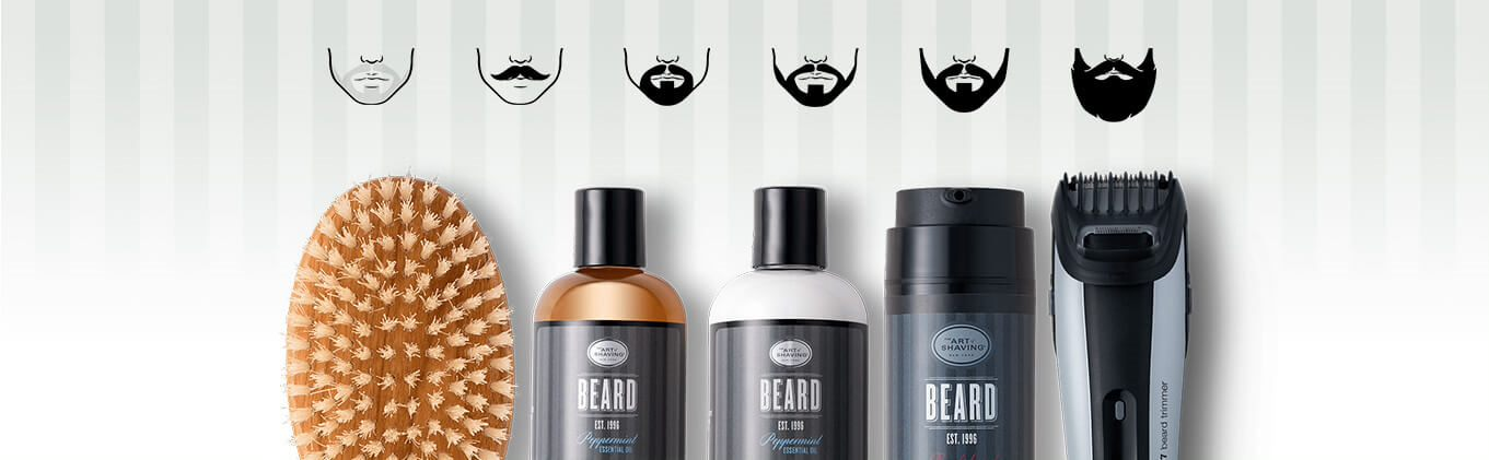 A beard brush, beard trimmer and assorted beard products in a line under illustrations of different beard styles.
