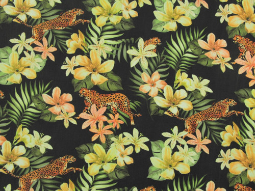 Wholesale Dress Fabric | Cheetah Lily Tencel Twill - Black | Fabric Godmother