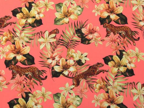 Cheetah Lily Viscose Lawn - Coral