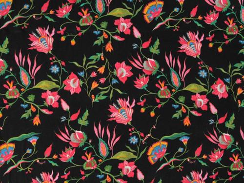 Wholesale Dress Fabric | Floribunda Viscose Twill - Black | Fabric Godmother