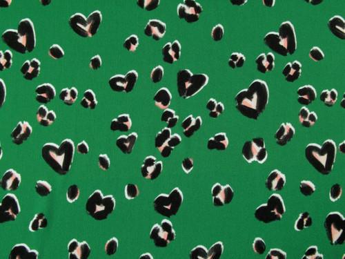 Wholesale Dress Fabric |Cheetin' Heart Viscose Sateen - Emerald | Fabric Godmother