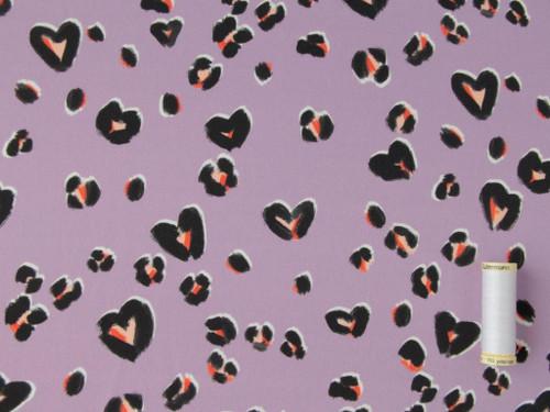 Wholesale Dress Fabric | Cheetin' Heart Viscose Sateen - Lilac | Fabric Godmother