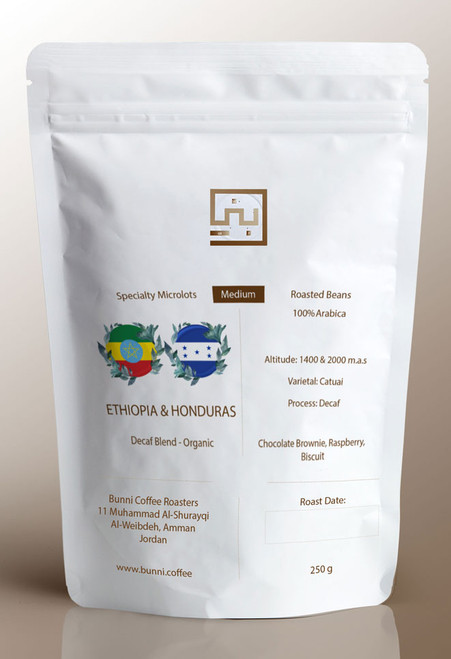 Want coffee but without the caffeine? Our decaf blend gives you the chance to enjoy a delicious brewed coffee while remaining caffeine-free! Ethiopia and Honduras combined. Organically produced coffee.
