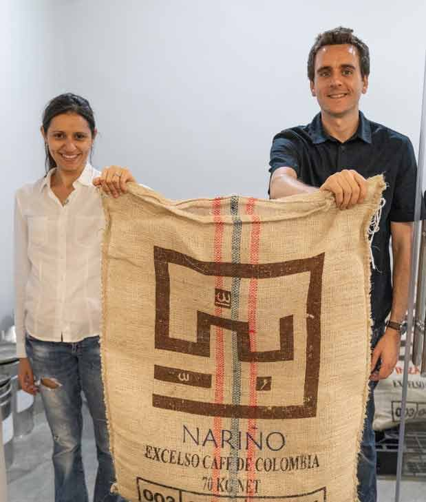 James and Shireen with a bag of high quality Arabica coffee directly imported from producers in Colombia