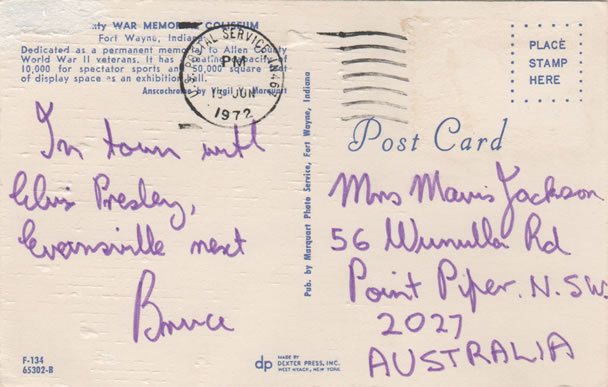 Postcard from Bruce Jackson.