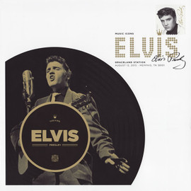 8 x 8-inch 'Forever Elvis' cachet with an affixed 2015 Elvis Presley stamp