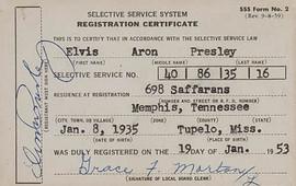 Elvis Presley's Draft Card (1953)