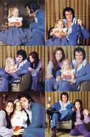 "Set Six (6) 5"" x 5"" Photos   Elvis, Priscilla & Lisa Marie Presley."