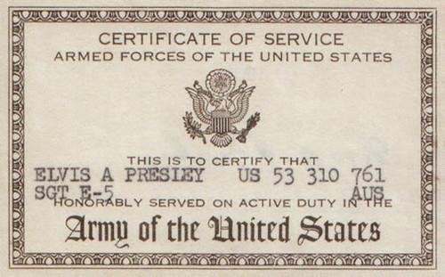 Elvis Presley Army Certificate of Service