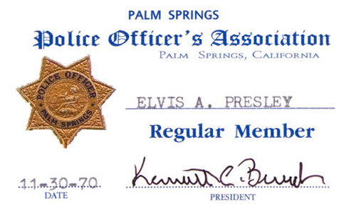 Elvis Presley Palm Springs Police Association Membership Card