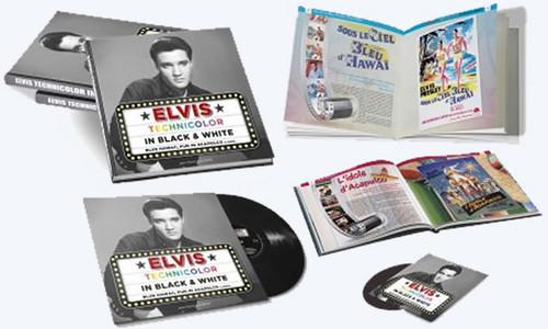 Elvis Technicolor In Black And White   Hardcover Book, LP Record & CD