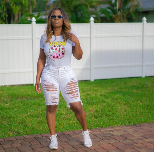 White Cut to Shreds    Shorts