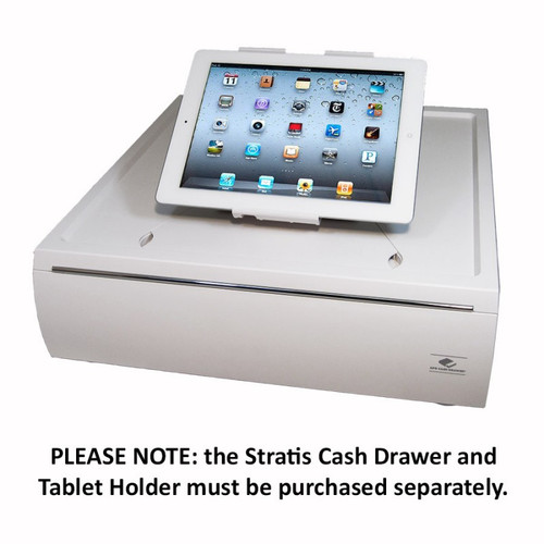 APG Stratis Series Cash Drawer. Photo shows optional Stratis tablet stand with tablet, not included.