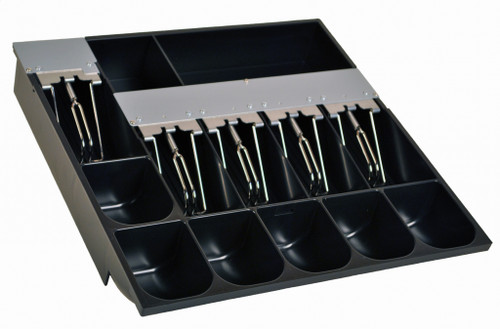 Extra-large cash tray, 6 coin / 5 bill & 2 extra compartments