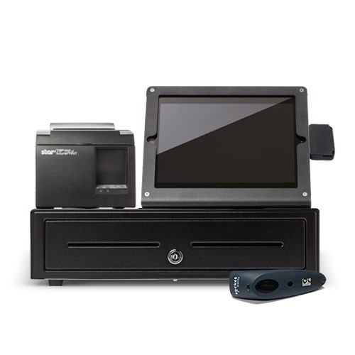 Bindo iPad POS System, Shown with Optional Barcode Scanner.