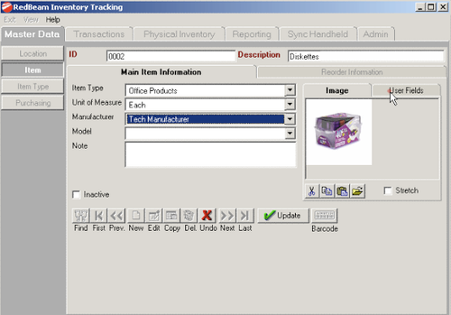 RedBeam Inventory Tracking Software Screenshot