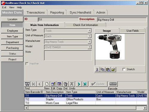 RedBeam Check In / Check Out Software Screenshot