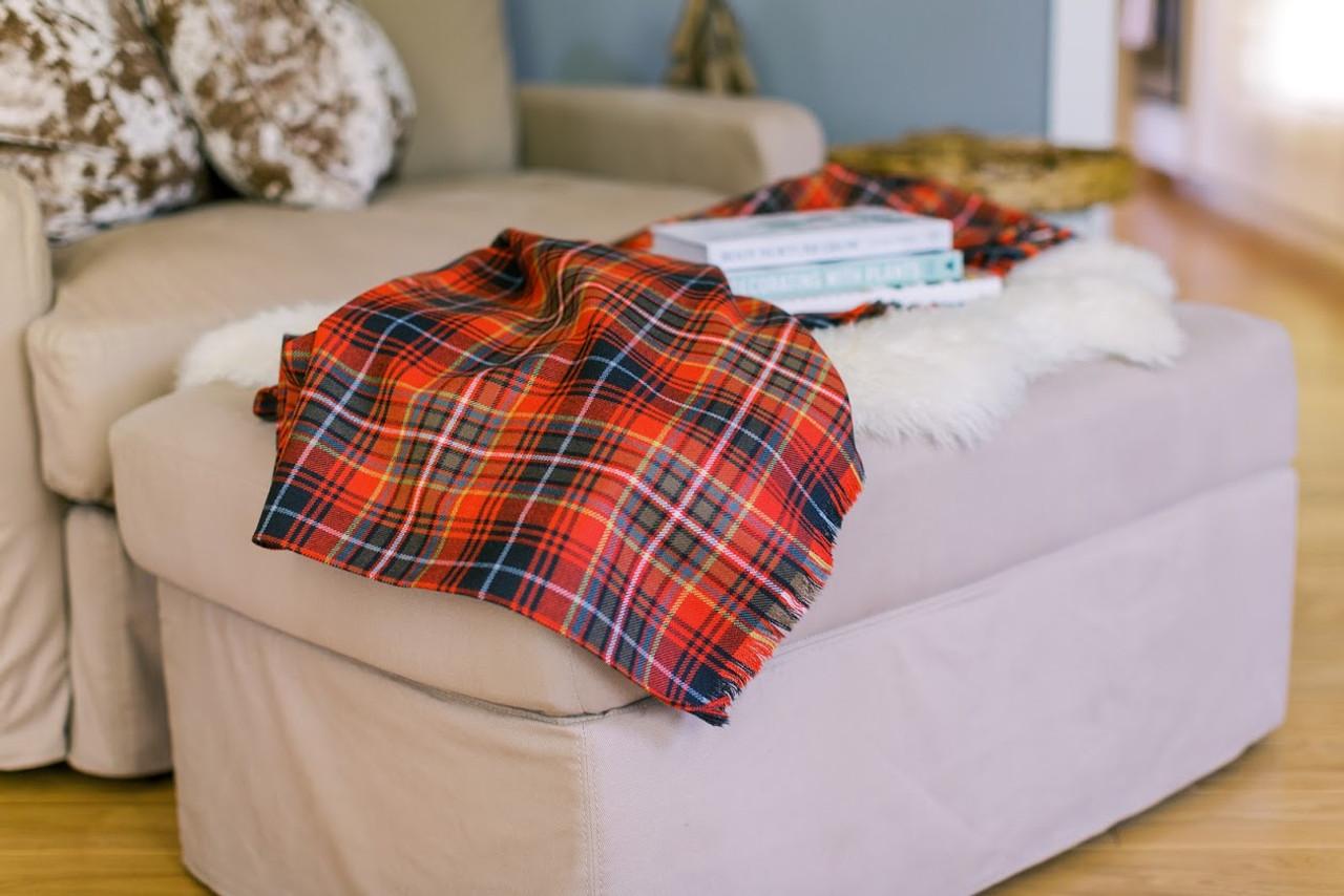 100/% Lambswool Throw Blanket Scottish Tartan Sutherland Old Modern Wool Rug