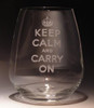 Evergreen Crystal Keep Calm and Carry On Stemless Wine Glass (23 oz)
