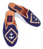 By Paige Needlepoint Shoes Anchor on Navy Needlepoint Mule
