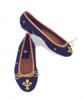 By Paige Needlepoint Shoes Fleur de Lis on Navy Ballet Flats