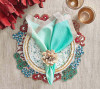 Cozumel Placemat in Turquoise, Coral, & Gold, Set of 2 by Kim Seybert