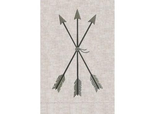 Anali Arrows Silver on Oat Linen Guest Towel