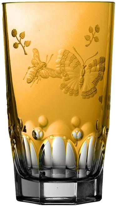 Varga Crystal Springtime Amber Highball Glass