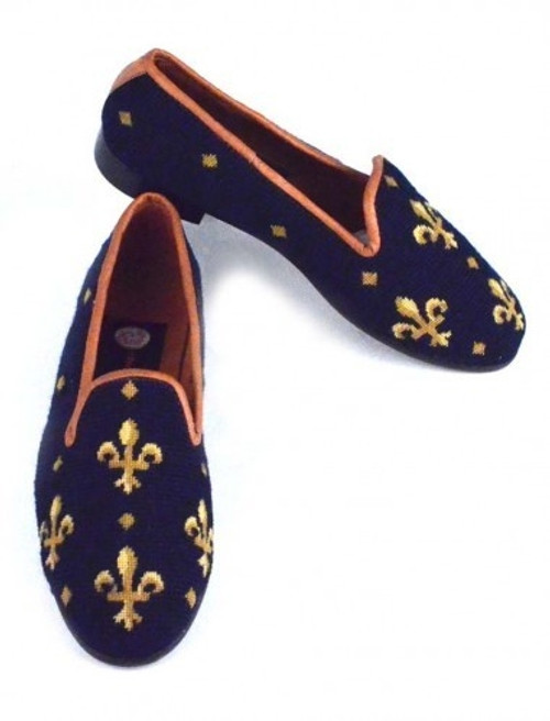 By Paige Needlepoint Shoes Fleur de Lis on Navy Needlepoint Women's Loafer