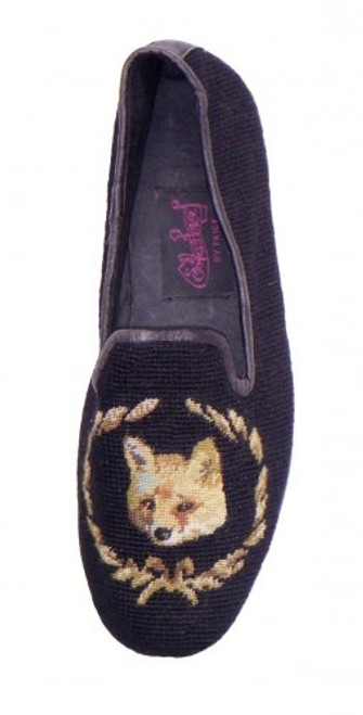 By Paige Needlepoint Shoes Fox on Black Needlepoint Loafers for Men