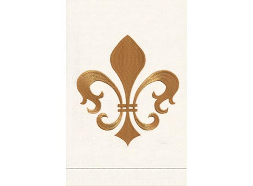 Anali Fleur Di Lis Linen Guest Towel (Gold/White)