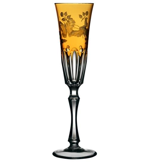 Varga Crystal Springtime Amber Champagne Flute