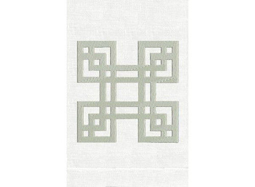 Anali Four Square Linen Guest Towel (Silver/White)