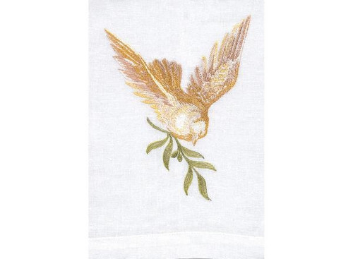 Anali Dove White Linen Guest Towel
