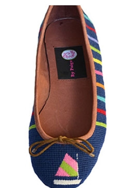 By Paige Needlepoint Shoes Sailboat on Blue Needlepoint Ballet Flats