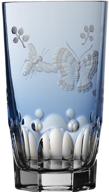 Varga Crystal Springtime Sky Blue Highball Glass