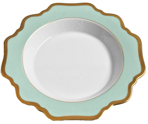 Anna Weatherley Anna's Palette - Aqua Green Rim Soup Plate