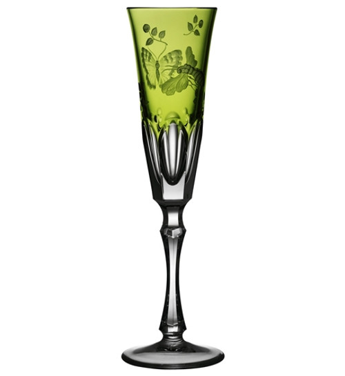 Varga Crystal Springtime Yellow/Green Champagne Flute