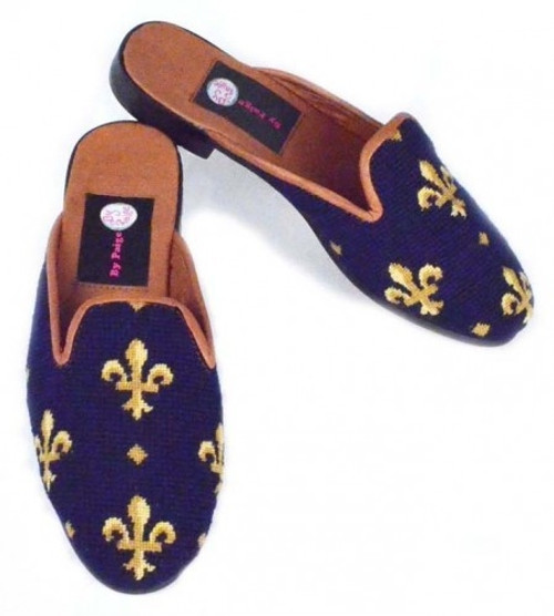 By Paige Needlepoint Shoes Fleur de Lis on Navy Needlepoint Mule