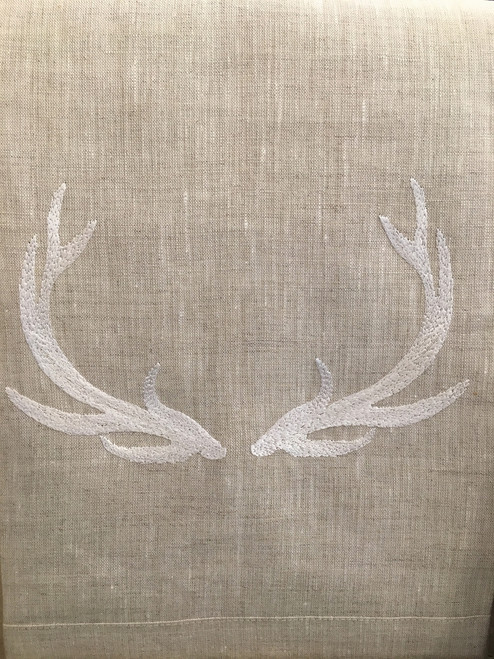 Anali Elk on Oat Linen Guest Towel