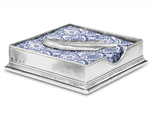 Match Pewter Luncheon Napkin Box with Feather
