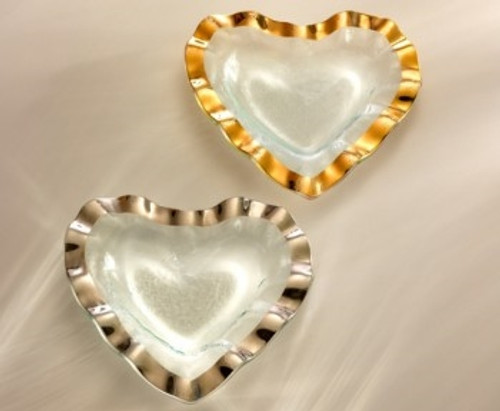 "Annie Glass Ruffle Heart Bowl (8"")"