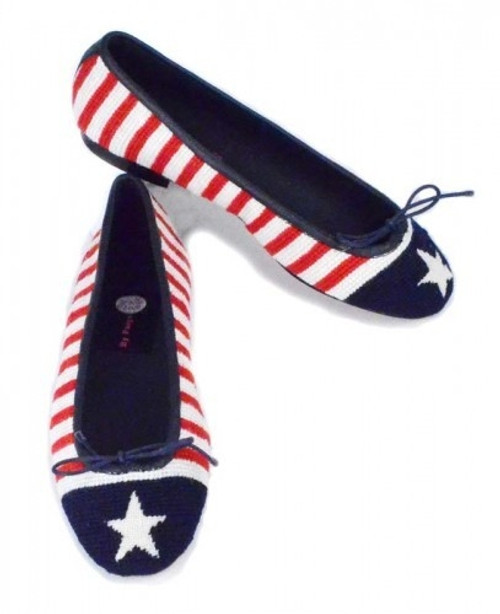 By Paige Needlepoint Shoes Stars and Stripes Needlepoint Ballet Flats
