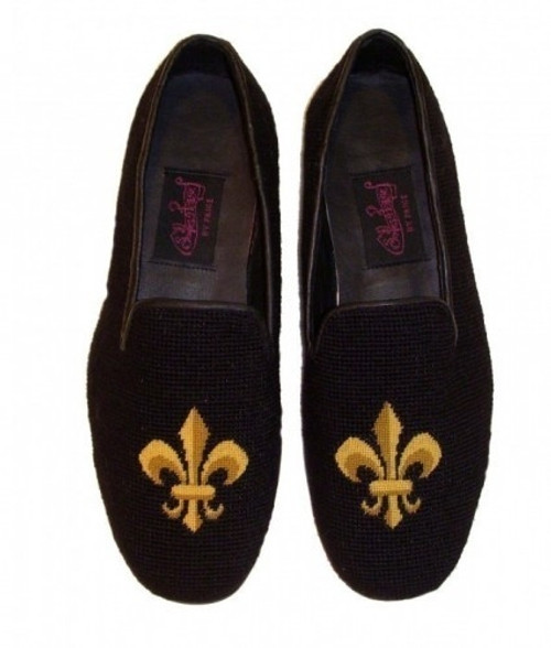 By Paige Needlepoint Shoes Fleur de Lis Needlepoint Loafers for Men