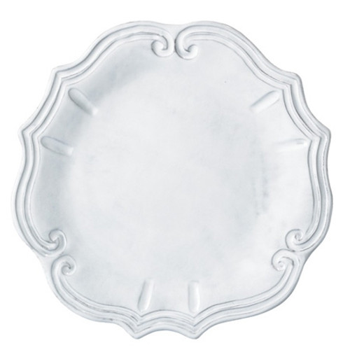 Vietri Incanto White Baroque Dinner Plate