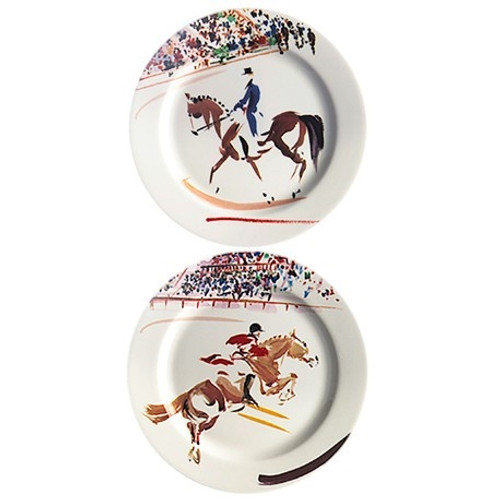 Gien France Cavaliers Bottle Coasters (Set of Two)