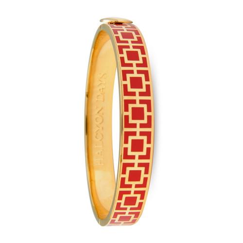 Halcyon Days Mosiac Red & Gold Hinged Bangle