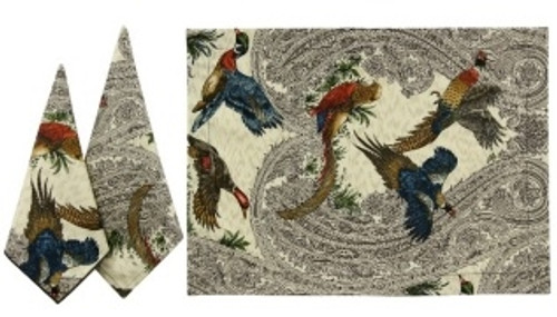 """Karen Lee Ballard Hunt II Game Birds Napkins Charcoal (21"""")"""