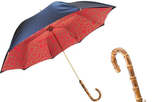 Pasotti Black Umbrella with Red Giraffe Print Interior